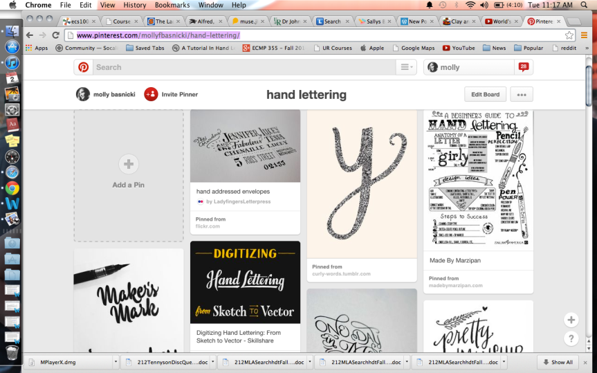 my hand lettering board on Pinterest was a great way to organize my resources for quick and easy access.